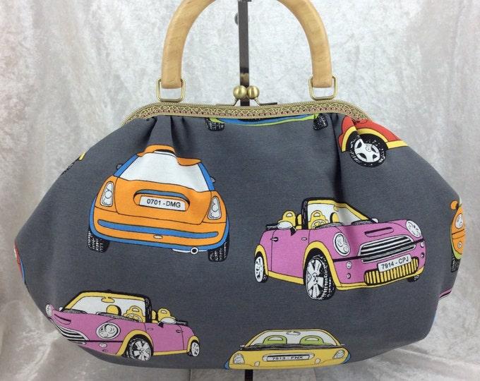 BMW Minis Fabric purse bag frame handbag fabric handbag shoulder bag frame purse kiss clasp bag Handmade Cars