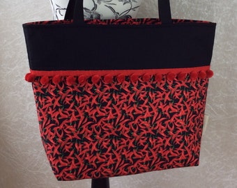 Handmade Beach tote shoulder bag Pom Pom shopping day bag purse fabric shopper Red Hot Chilli Peppers