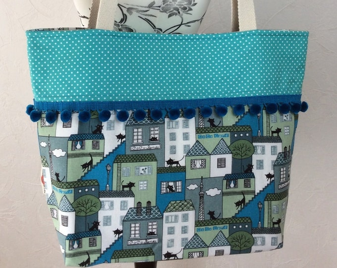 Cats on Roofs beach tote shoulder bag shopping shopper day bag purse Pom  Pom Handmade Town Cats