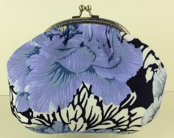 Peony small frame handbag purse bag fabric clutch shoulder bag frame purse kiss clasp bag Handmade Kaffe Fassett Philip Jacobs Brocade Peony