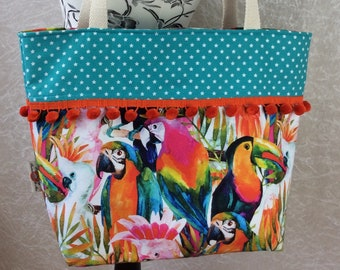 Handmade Beach tote shoulder bag Pom Pom shopping day bag purse fabric shopper Tropical Jungle Birds Parrots Toucans Macaws
