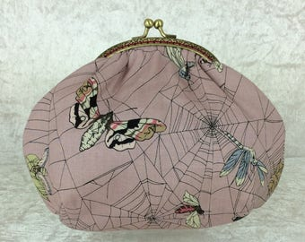 Gothic web small frame handbag purse bag fabric clutch shoulder bag frame purse kiss clasp bag Handmade Alexander Henry Ghastlie Web