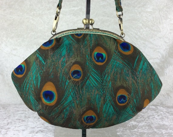 Peacock Feathers purse bag frame handbag fabric clutch shoulder bag frame purse kiss clasp bag Handmade