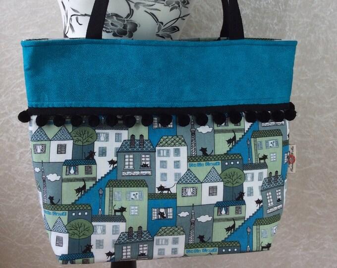 Handmade Beach tote shoulder bag Pom Pom shopping day bag purse fabric shopper Cats in the City Blue