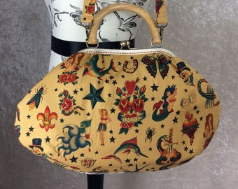 Tattoo Fabric purse bag frame handbag fabric handbag shoulder bag frame purse kiss clasp bag Handmade Alexander Henry Tattoo