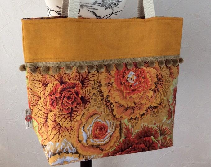 Cabbages beach tote shoulder bag shopping shopper day bag purse Pom Pom Handmade Kaffe Fassett Philip Jacobs Brassica
