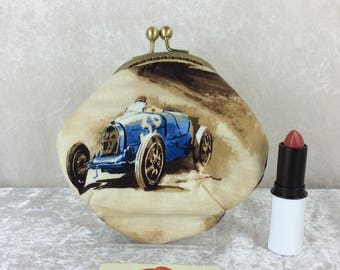 Racing Cars coin purse wallet fabric kiss clasp frame wallet change pouch handmade Classic Cruisers hand stitched frame