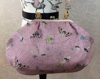 Gothic Fabric purse bag frame handbag fabric handbag shoulder bag frame purse kiss clasp bag Handmade Alexander Henry Ghastlie Web Moths