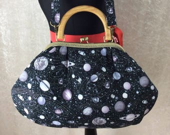 Planets Fabric purse bag frame handbag fabric handbag shoulder bag frame purse kiss clasp bag Handmade Space Stars