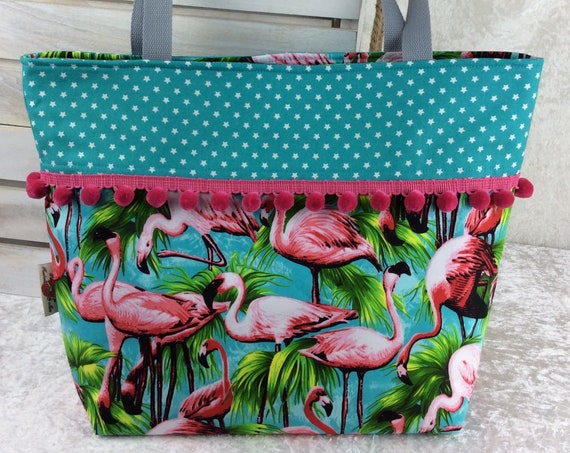 Flamingo beach tote shoulder bag shopping shopper day bag purse Pom Pom Handmade Tropical Birds