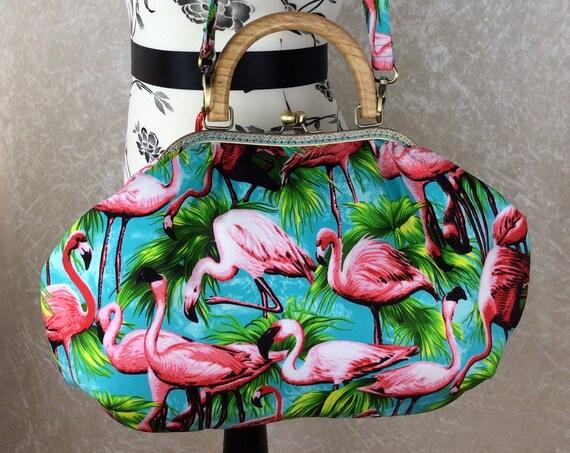Flamingos Fabric purse bag frame handbag fabric handbag shoulder bag frame purse kiss clasp bag Handmade Tropical Birds