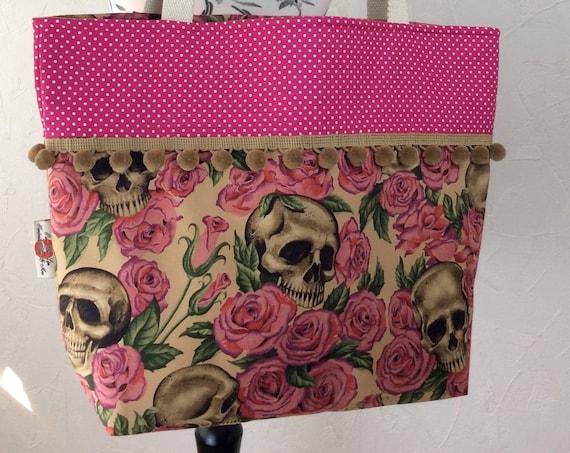 Gothic Skulls Roses beach tote shoulder bag shopping shopper day bag purse Pom Pom Handmade Alexander Henry Resting In Roses