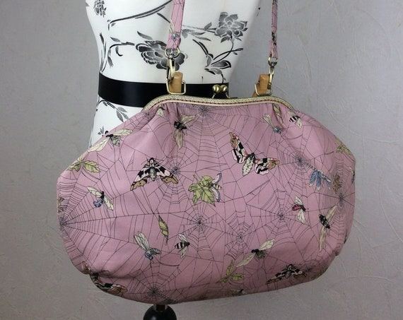 Gothic moths fabric purse bag frame handbag fabric handbag shoulder bag frame purse kiss clasp bag Handmade Alexander Henry Ghastlie Web