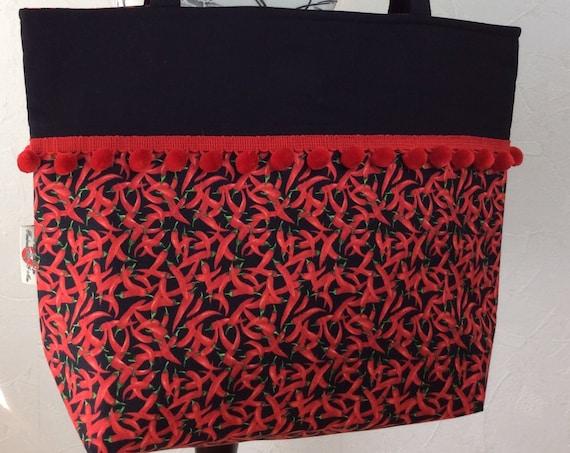 Chillis Chilli Peppers beach tote shoulder bag shopping shopper day bag purse Pom Pom Handmade