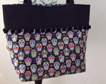 Mexican Skulls Day of the Dead gothic beach tote shoulder bag shopping shopper day bag purse Pom  Pom Handmade