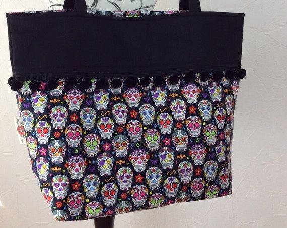 Mexican Skulls Day of the Dead gothic beach tote shoulder bag shopping shopper day bag purse Pom  Pom Handmade