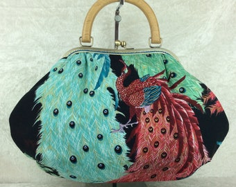 Peacocks Fabric purse bag frame handbag fabric handbag shoulder bag frame purse kiss clasp bag Handmade Alexander Henry Kujaku Peacocks