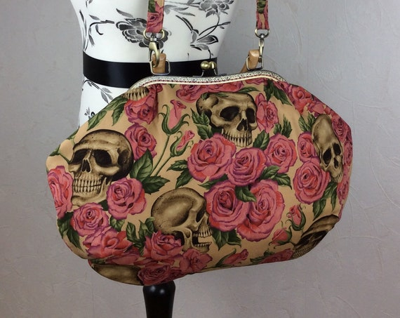 Gothic Skulls Roses Fabric purse bag frame handbag fabric handbag shoulder bag frame clasp bag Handmade Alexander Henry Resting In Roses