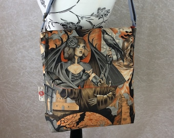Gothic Crows Skulls shoulder bag purse messenger cross body crossbody travel fabric Alexander Henry  Heart of Darkness