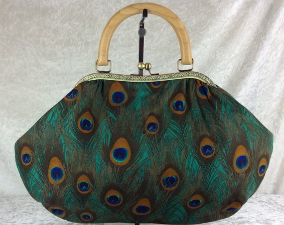 Peacock Feathers fabric purse bag frame handbag fabric handbag shoulder bag frame purse kiss clasp bag Handmade