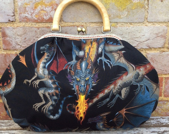 Featured listing image: Dragons fabric frame handbag, Kiss clasp, Kiss lock purse, Shoulder bag, Wooden handle, Alexander Henry Tail Of The Dragon, Handmade