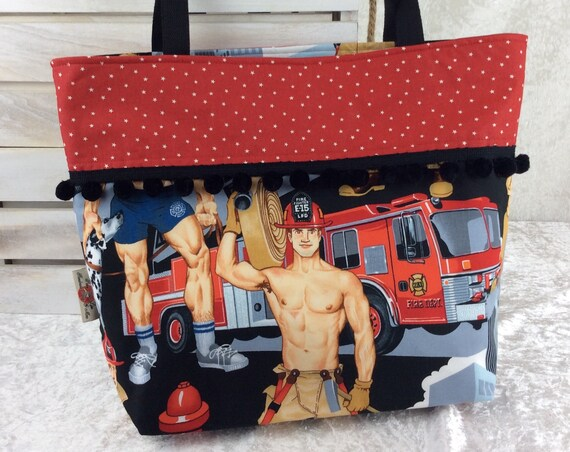 Firemen Firefighters beach tote shoulder bag shopping shopper day bag purse Pom Pom Handmade Alexander Henry Ready for Action