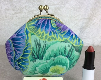Cabbages coin purse wallet fabric kiss clasp frame wallet change pouch handmade Kaffe Fassett Philip Jacobs Brassica