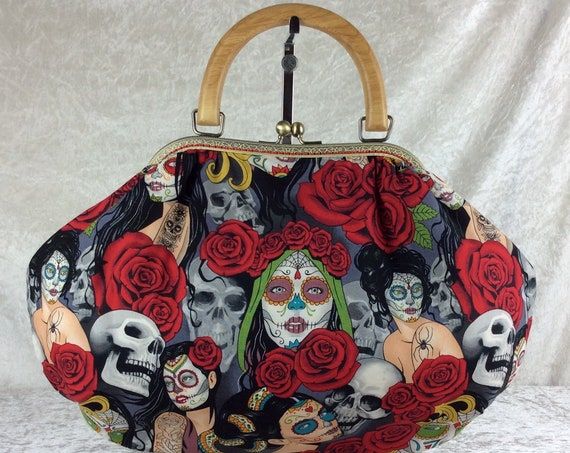 Gothic Skulls Roses Day of the Dead Fabric purse bag frame handbag fabric bag clasp shoulder bag Handmade Alexander Henry Nocturna