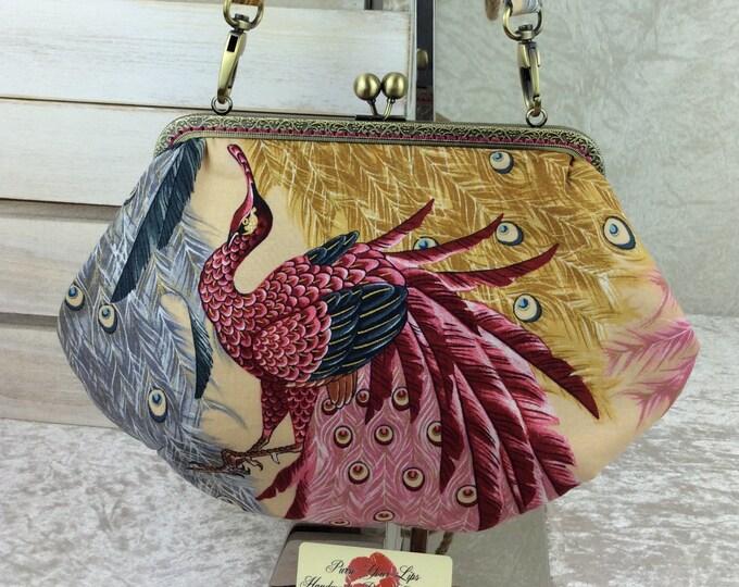 Peacocks purse bag frame handbag fabric clutch shoulder bag frame purse kiss clasp bag Handmade Alexander Henry Kujaku Peacock