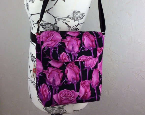Roses Flowers shoulder bag purse messenger cross body crossbody travel fabric Medium size