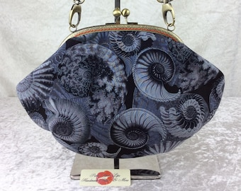 Ammonite Fossil Fabric purse bag frame handbag fabric clutch shoulder bag frame purse kiss clasp bag Handmade