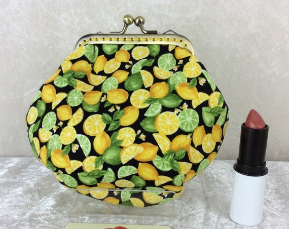 Lemons and Limes coin purse wallet fabric kiss clasp frame wallet change pouch handmade Fruit hand stitched frame