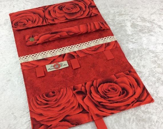 Jewellery roll Flowers organiser travel case Handmade Red Roses