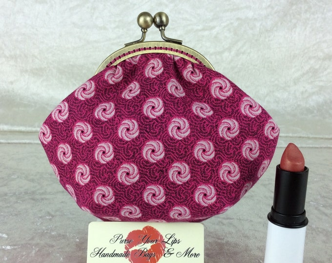 Shwe Shwe coin purse wallet fabric kiss clasp frame wallet change pouch handmade pink geometric  hand stitched frame