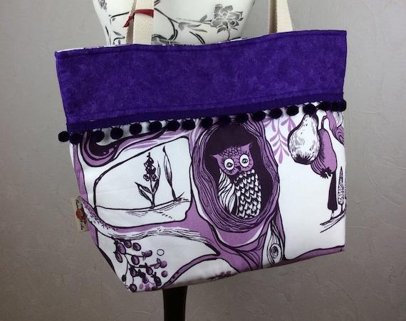Owls sqirels in woodland on Roofs beach tote shoulder bag shopping shopper day bag purse Pom  Pom Handmade