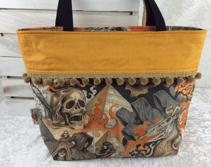 Heart of Darkness gothic beach tote shoulder bag shopping shopper day bag purse Pom Pom Handmade Alexander Henry Skulls