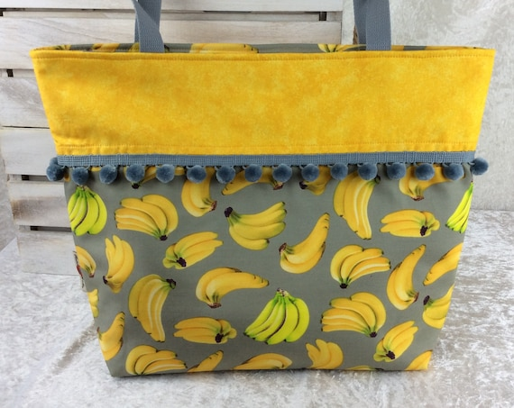 Bananas beach tote shoulder bag shopping shopper day bag purse Pom Pom Handmade