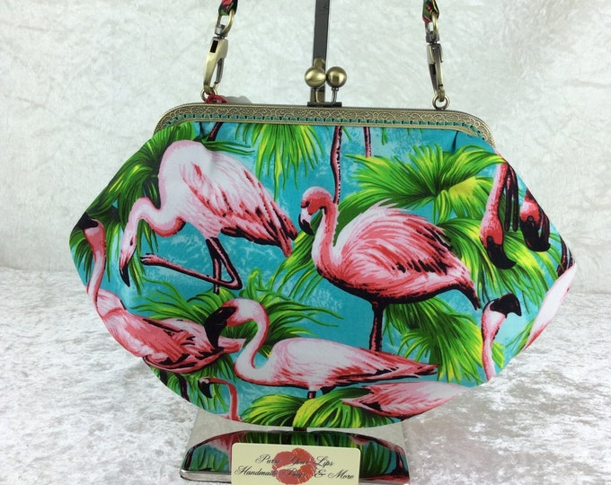 Flamingos purse bag frame handbag fabric clutch shoulder bag frame purse kiss clasp bag Handmade