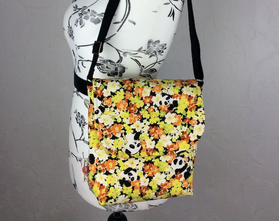 Pandas in flowers shoulder bag purse messenger cross body crossbody travel fabric Medium size