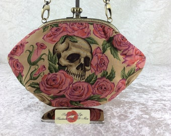 Gothic Skulls Roses purse bag frame handbag fabric clutch shoulder bag frame purse kiss clasp bag Handmade Alexander Henry Resting In Roses