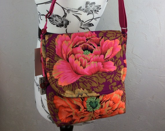Peony Flowers shoulder bag purse messenger cross body crossbody travel fabric Medium size Kaffe Fassett Philip Jacobs Brocade Peony