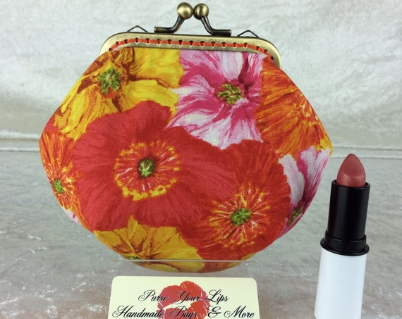 Flowers coin purse wallet fabric kiss clasp frame wallet change pouch handmade orange red yellow hand stitched frame