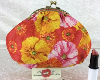 Flowers small frame handbag purse bag fabric clutch shoulder bag frame purse kiss clasp bag Handmade