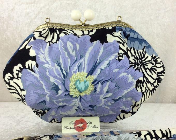Peony flowers purse bag frame handbag fabric clutch shoulder bag frame purse kiss clasp bag Handmade Alexander Henry Brocade Peony