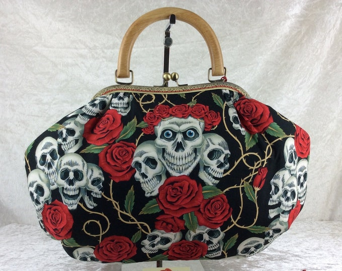 Gothic Skulls Roses Fabric purse bag frame handbag fabric handbag shoulder bag frame clasp bag Handmade Alexander Henry Rose Tattoo