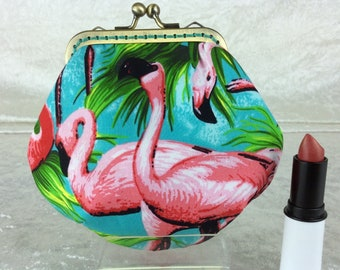 Flamingos coin purse wallet fabric kiss clasp frame wallet change pouch handmade Tropical Birds hand stitched frame