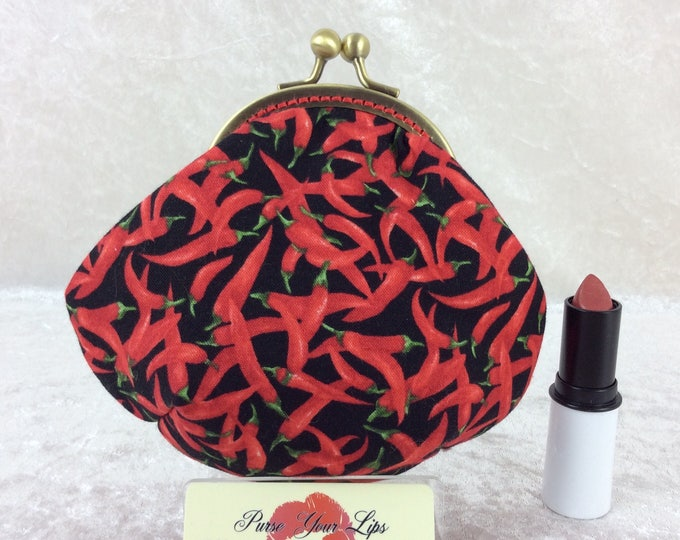 Chillis coin purse wallet fabric kiss clasp frame wallet change pouch handmade Chilli Peppers hand stitched frame