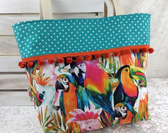 Tropical Jungle Birds beach tote shoulder bag shopping shopper day bag purse Pom Pom Handmade