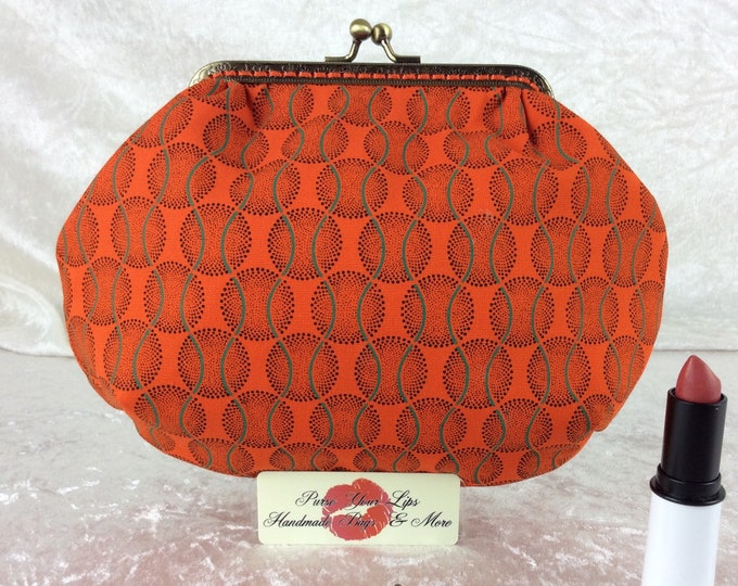 Orange Shew Shwe small frame handbag purse bag fabric clutch shoulder bag frame purse kiss clasp bag Handmade