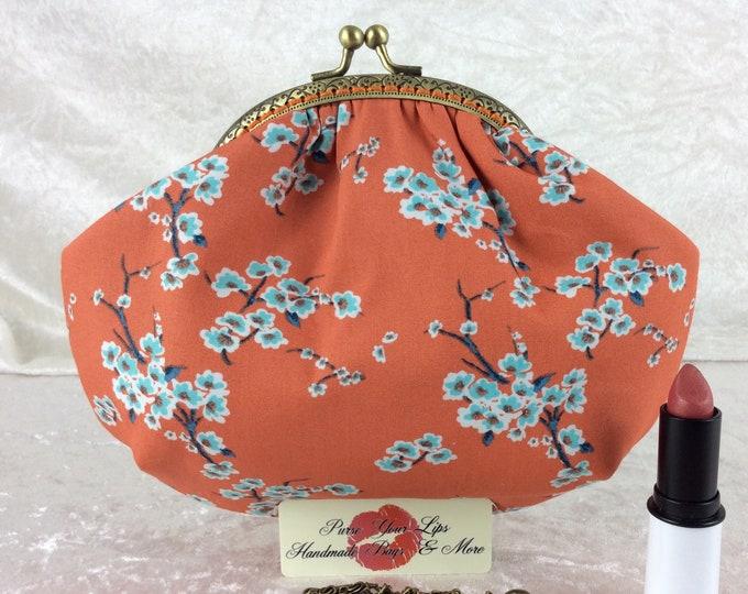 Blossom small frame handbag purse bag fabric clutch shoulder bag frame purse kiss clasp bag Handmade Flowers Cherry Blossoms